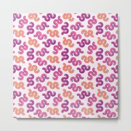Colorful funny snakes (Pink, purple and orange) Metal Print