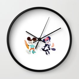 Mickey and Minie in France Wall Clock