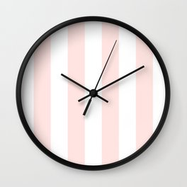 Vertical Stripes - White and Pastel Pink Wall Clock