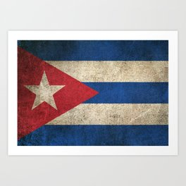 Old and Worn Distressed Vintage Flag of Cuba Art Print