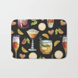 Cocktail and Biscuit Pattern Black Background Bath Mat