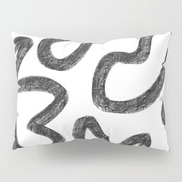 Faded White and Black Minimal Abstract Pillow Sham