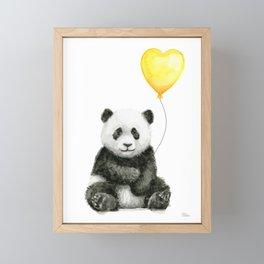 Panda with Yellow Balloon Baby Animal Watercolor Nursery Art Framed Mini Art Print