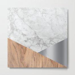 White Marble - Wood & Silver #157 Metal Print