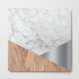 Geometric White Marble - Wood & Silver #157 Metal Print