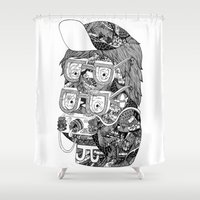 hipster Shower Curtains featuring hipster by Jess John