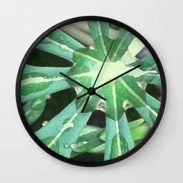 Raindrops on Leaves Wall Clock