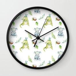 Hand drawn green gray watercolor tropical elephant crocodile pattern Wall Clock