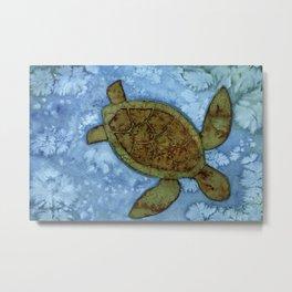 Turtle on the Reef Metal Print