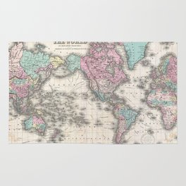Vintage Map of The World (1855) Rug
