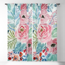 Pretty watercolor hand paint floral artwork. Blackout Curtain