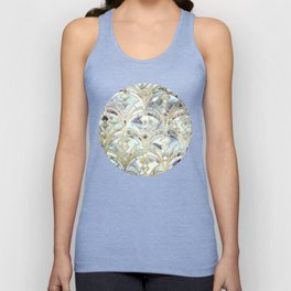 Pale Bright Mint and Sage Art Deco Marbling Unisex Tank Top