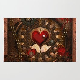 Steampunk, awesome steampunk heart Rug