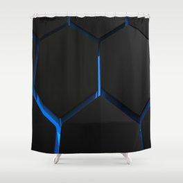 Futuristic hexagons on blue backlight Shower Curtain