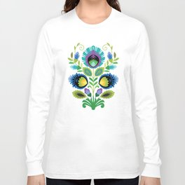 Polish Folk Flowers Teal Long Sleeve T-shirt