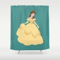 belle Shower Curtains featuring Belle by Dewdroplet
