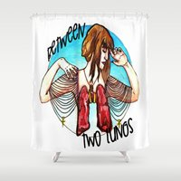 lungs Shower Curtains featuring Between Two Lungs by Sabino Martinez