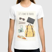 backpack T-shirts featuring It's Time to Travel by Helga Wigandt