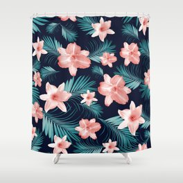 Tropical Flowers Palm Leaves Finesse #1 #tropical #decor #art #society6 Shower Curtain