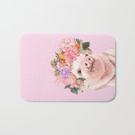Baby Pig with Flowers Crown Bath Mat
