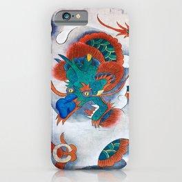 Minhwa: A Blue Dragon in the clouds (Korean traditional/folk art) iPhone Case