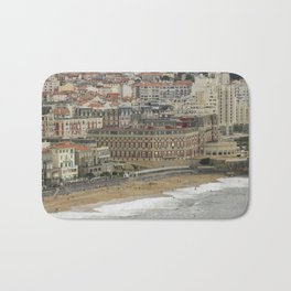 Beach landscape France: The ancient seaside resort architecture of Biarritz with its Belle Époque ritzy charme and glamourous vibe along the Grand Plage at stormy weather Bath Mat
