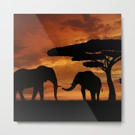 African elephants silhouettes in sunset Metal Print