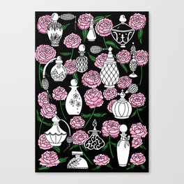 Perfume and Peonies Black and White Canvas Print