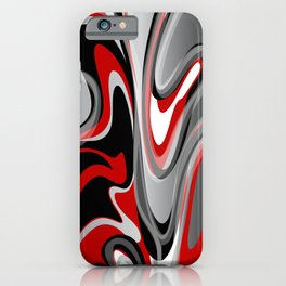 Liquify 2 - Narrow Red, Gray, Black, White iPhone Case
