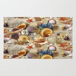 Fancy Seashells And Starfish Rug
