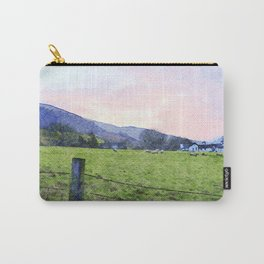 Dawn at Grasmere Farm with Sheep Grazing, Lake District, Cumbria, England. Watercolour Painting Carry-All Pouch