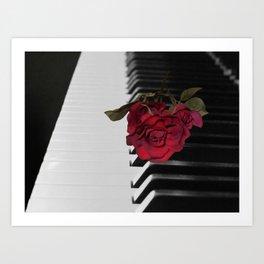 Contemporary Black & White Piano Keys Red Rose Art A509 Art Print