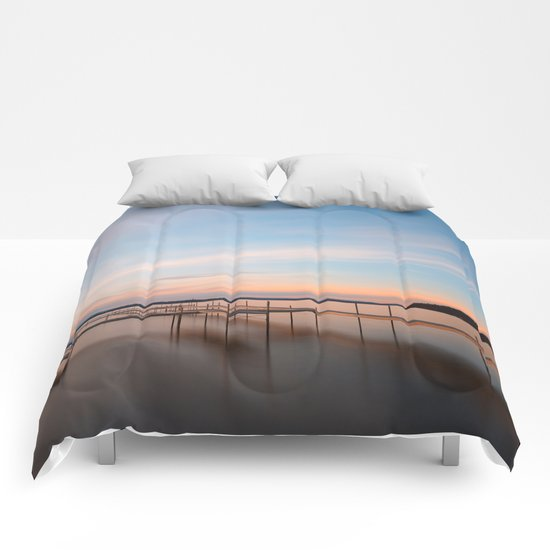 Saratoga Lake Sunset Comforters