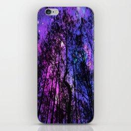 Black Trees Purple Fuchsia Blue space iPhone Skin