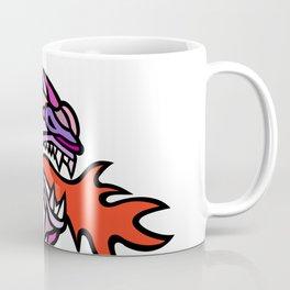 Mosaic Mythical Dragon Breathing Fire Mascot Coffee Mug