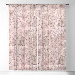 Monochroem Vintage Biycles On Coral Pink Sheer Curtain