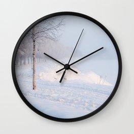 Snowy Walk. Wall Clock
