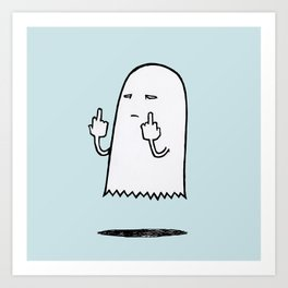 Double F-You Ghost (Blue) Art Print