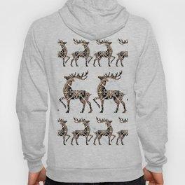 Marbled Black and Rose-Gold Mandala Reindeer Textile Hoody