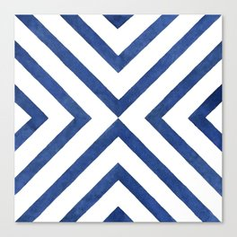 Geometrical modern navy blue watercolor abstract pattern Canvas Print