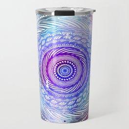Modern Mandala Spiral Galaxy Space Textured Multi Colored / Purple Pink Orange Gray Black Travel Mug