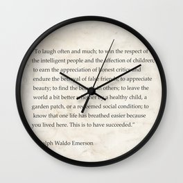 """""""To laugh often and much; to win...Ralph Waldo Emerson Wall Clock"""