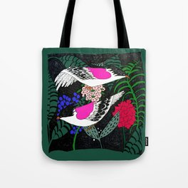 Sgraffito Birds - Bright Fuchsia Botanical Birds and Flowers Tote Bag