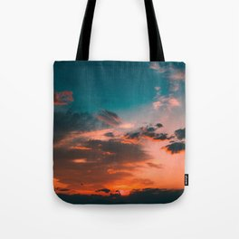 Colorful Pink Orange Turquoise Sunset Clouds Ombre Gradient Tote Bag