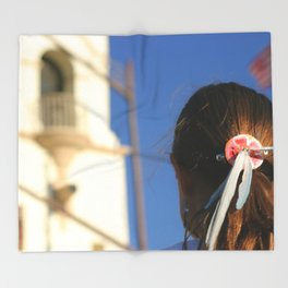 Girl Feather Headdress Throw Blanket
