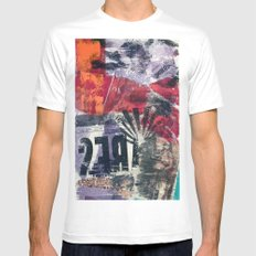 COLLAGE 18 White Mens Fitted Tee MEDIUM