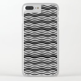 Black and White Graphic Metal Space Clear iPhone Case