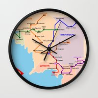 middle earth Wall Clocks featuring Middle-Earth metro map by tuditees