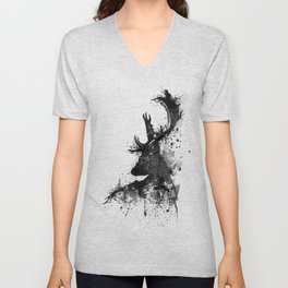 Deer Head Watercolor Silhouette - Black and White Unisex V-Neck