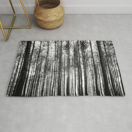 trees in forest landscape - black and white nature photography Rug
